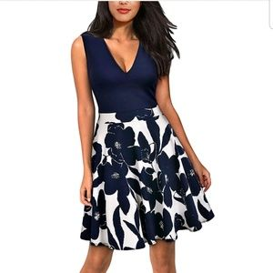 Blue & White Fit & Flare Dress